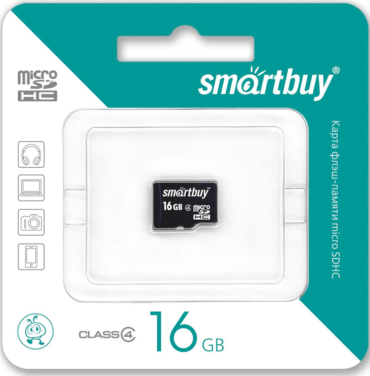 SmartBuy microSDHC Class 4 16GB карта памяти (без адаптера) карта памяти smartbuy microsdhc 16gb class 10 адаптер черный