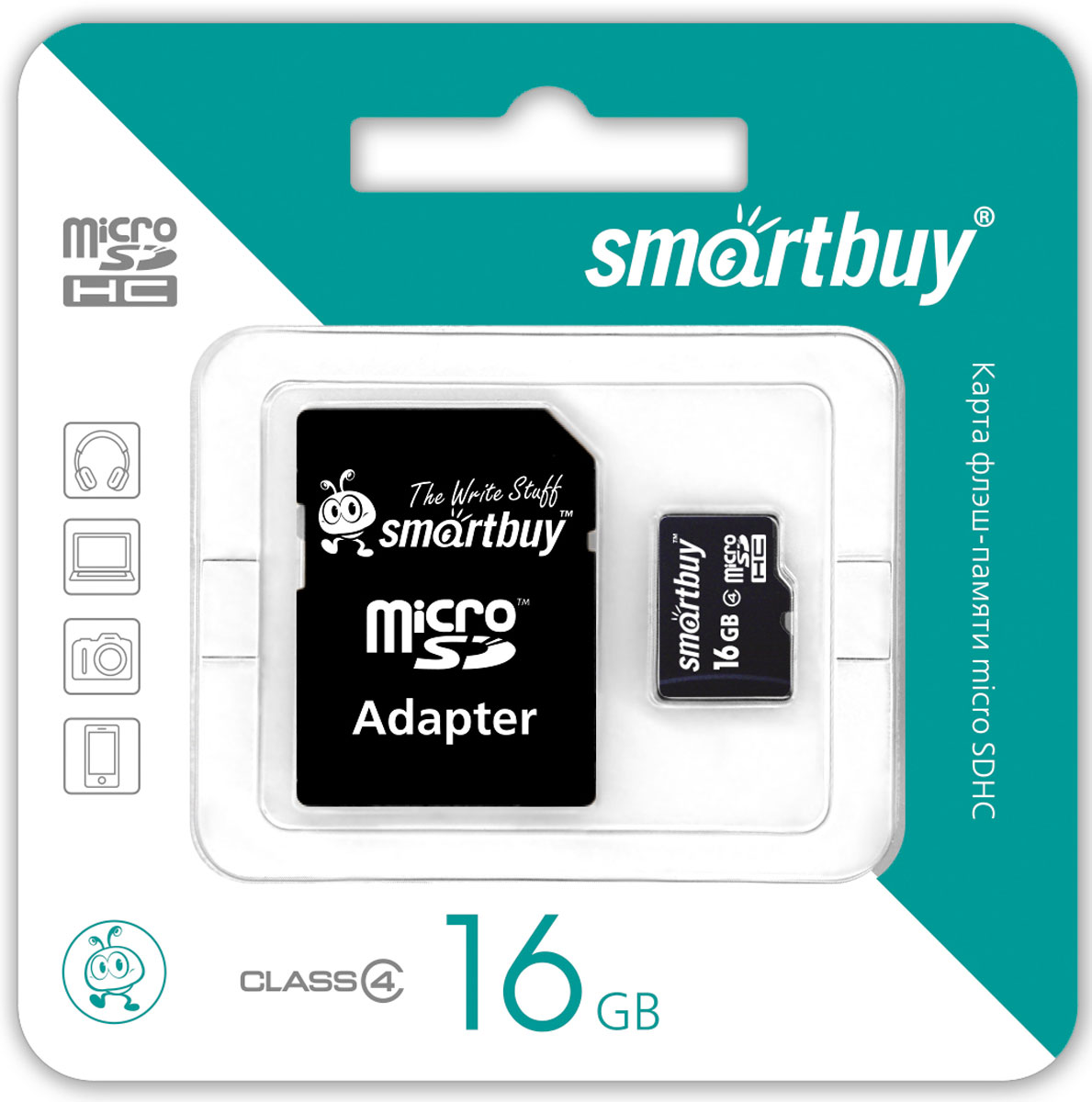 SmartBuy microSDHC Class 4 16GB карта памяти (с адаптером SD) карта памяти smartbuy microsdhc 16gb class 10 адаптер черный