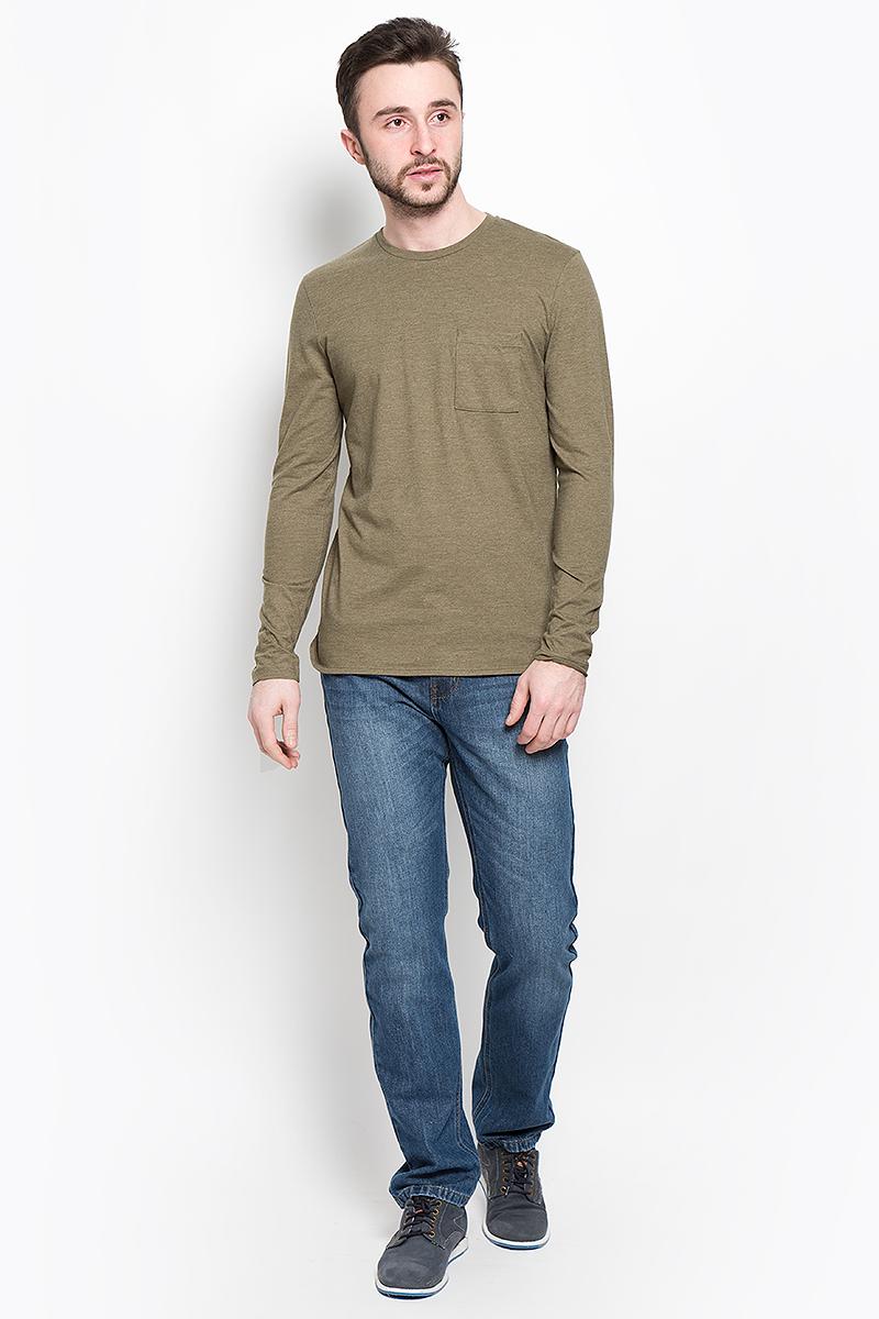 Лонгслив мужской Selected Homme Identity, цвет: темно-оливковый. 16052848. Размер M (46) пуловер мужской selected homme identity цвет бордовый 16051696 размер l 48