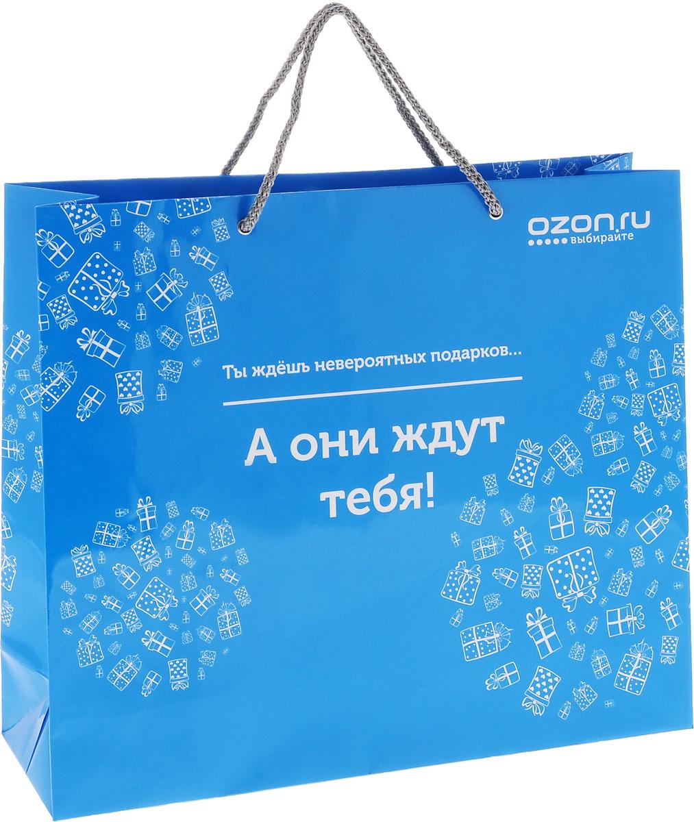 """Пакет подарочный OZON.ru """"Ты ждешь невероятных подарков, а они ждут тебя"""", изготовленный из ламинированной бумаги, станет незаменимым дополнением к выбранному подарку. Дно изделия укреплено плотным картоном, который позволяет сохранить форму пакета и исключает возможность деформации дна под тяжестью подарка. Для удобной переноски предусмотрены два шнурка. Подарок, преподнесенный в оригинальной упаковке, всегда будет самым эффектным и запоминающимся. Окружите близких людей вниманием и заботой, вручив презент в нарядном, праздничном оформлении."""