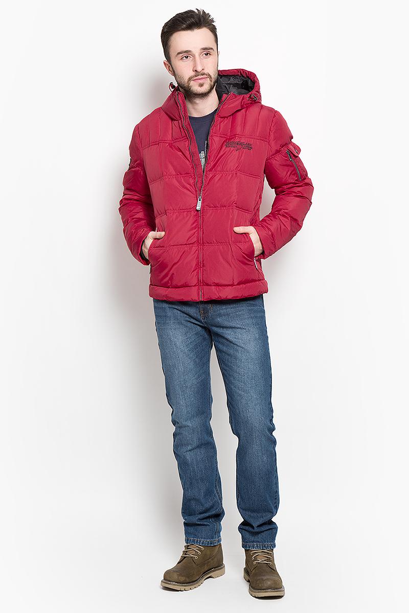 Пуховик мужской Finn Flare, цвет: красный. W16-22019_317. Размер S (46) кардиган мужской finn flare цвет темно синий бежевый w16 22107 101 размер s 46