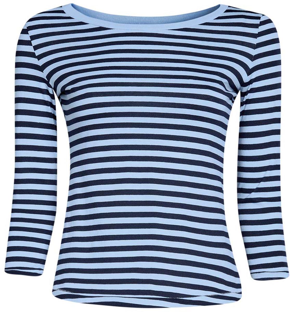 Лонгслив женский oodji Ultra, цвет: голубой, темно-синий. 14201005B/46158/7079S. Размер XL (50) лонгслив lisa crown лонгслив