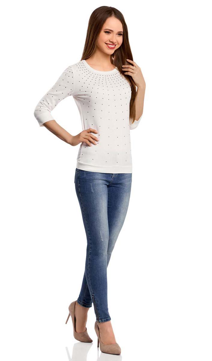 Джемпер женский oodji Ultra, цвет: белый. 14801021-5/45493/1200N. Размер XL (50) oodji 14801021 3 45493 7052p