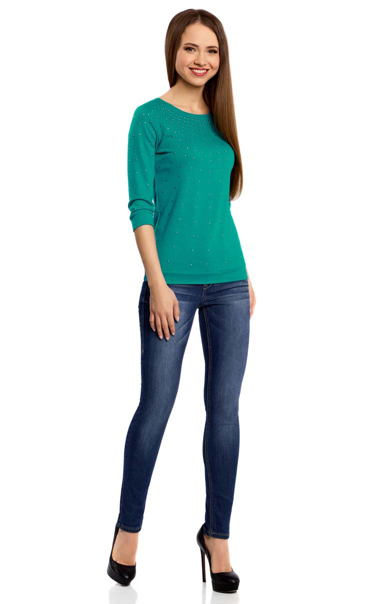 Джемпер женский oodji Ultra, цвет: изумрудный. 14801021-5/45493/6D00N. Размер XXS (40) oodji 14801021 3 45493 7052p