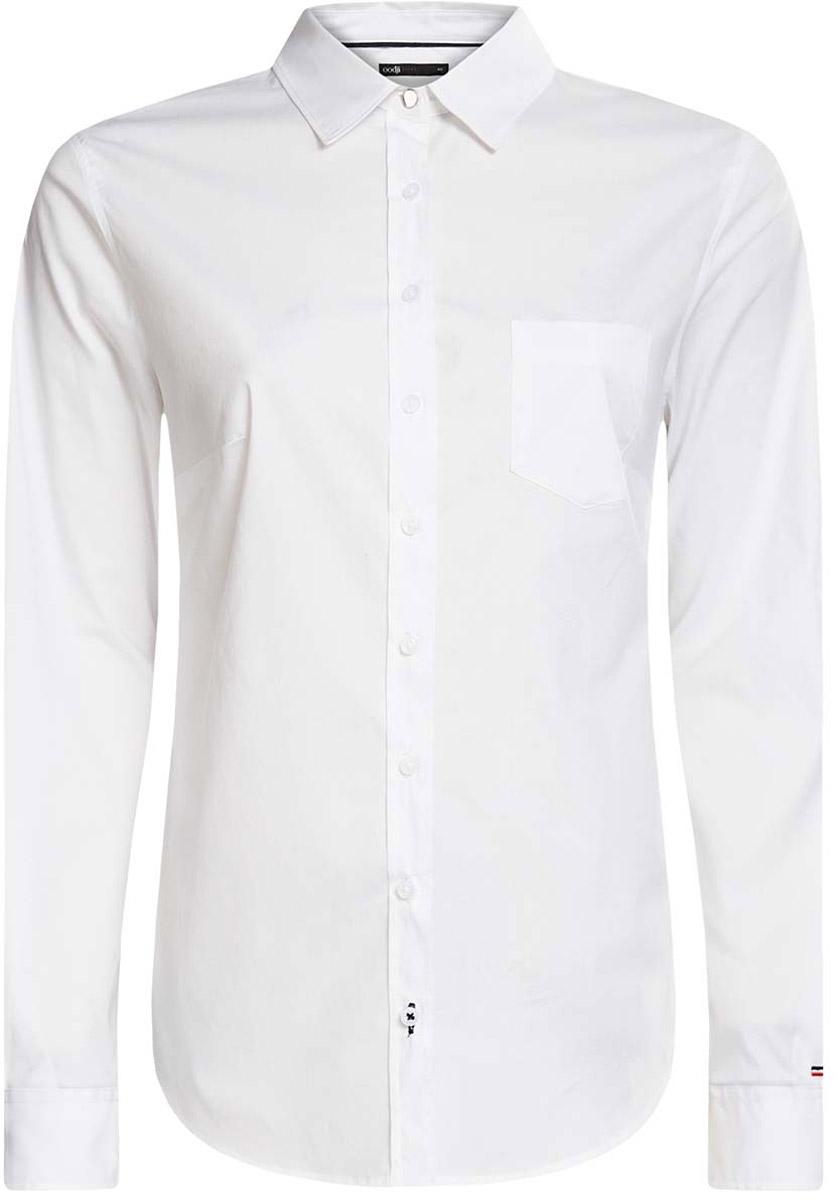 Рубашка женская oodji Ultra, цвет: белый. 11403205-9/26357/1000N. Размер 44-170 (50-170) юбка oodji ultra цвет белый 11605061 35319 1000n размер 44 170 50 170