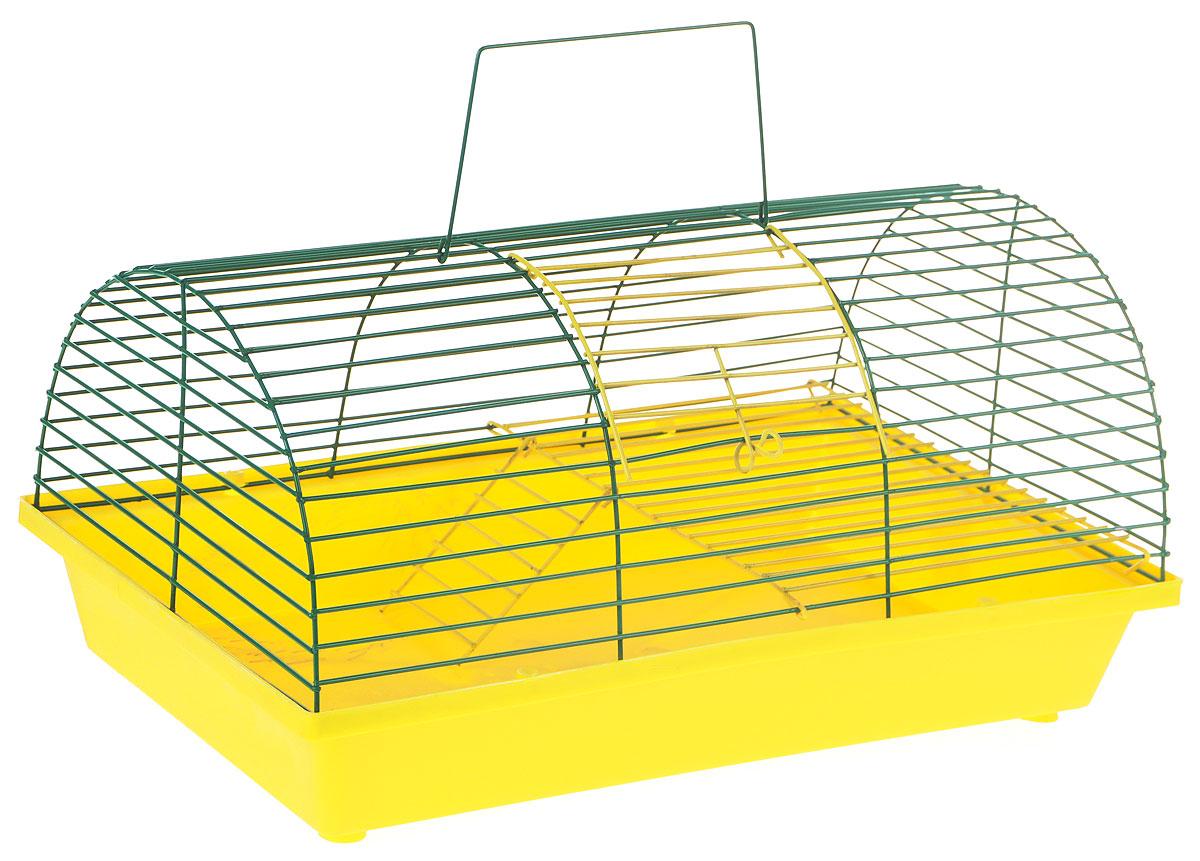 Клетка для грызунов ЗооМарк, цвет: желтый поддон, зеленый решетка, 36 х 23 х 17,5 см(110ж)ЖЗКлетка ЗооМарк, выполненная из полипропилена и металла, подходит для грызунов. Она имеет яркий поддон, удобна в использовании и легко чистится. Клетка оснащена вторым ярусом с лесенкой, выполненных из металла.Такая клетка станет уединенным пространством и уютным домиком для маленького грызуна.