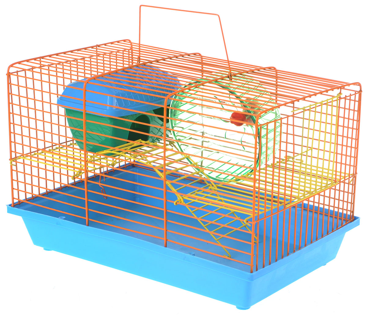 Клетка для грызунов Зоомарк  Венеция , 2-этажная, цвет: голубой поддон, оранжевая решетка, 36 х 23 х 24 см - Клетки, вольеры, будки