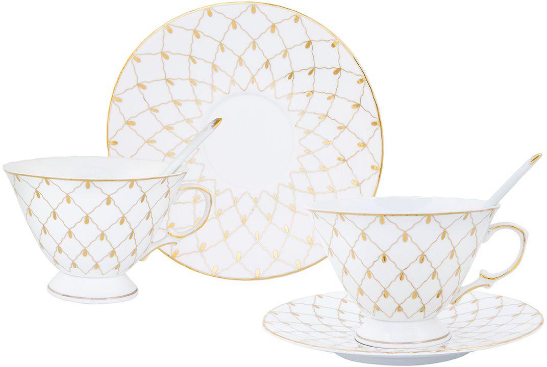 Чайная пара Elan Gallery Золотая сетка, с ложкой, 230 мл, 6 предметов801062Чайный набор на 2 персоны украсит Ваше чаепитие. В комплекте 2 чашки объемом 230 мл, 2 блюдца, 2 ложки. Изделие имеет подарочную упаковку, поэтому станет желанным подарком для Ваших близких!