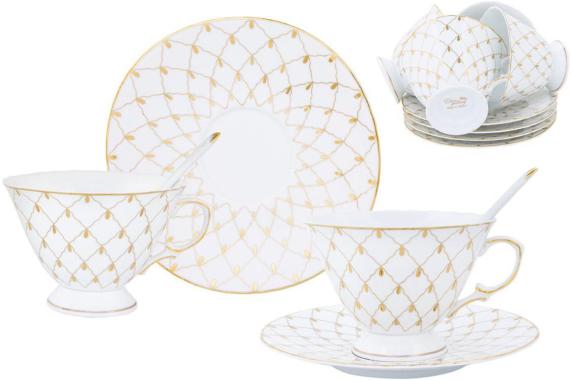 Чайный набор Elan Gallery Золотая сетка, 230 мл, с ложкой, 18 предметов801063Чайный сервиз на 6 персон из серии в красивой подарочной упаковке. Легкие изящные чашки объемом 230 мл, большие блюдца. В комплекте 6 чашек, 6 блюдец. Этот чайный сервиз подходит для праздничного стола и является великолепным подарком!