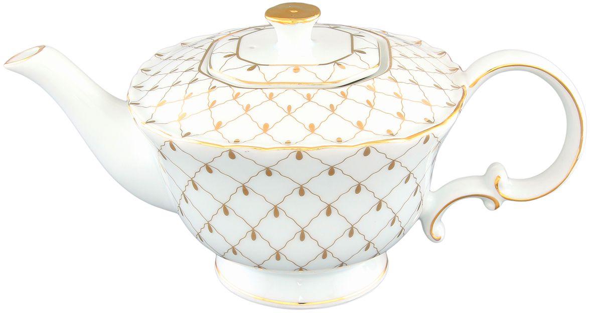 Чайник заварочный Elan Gallery Золотая сетка, 750 мл801065Изящный вместительный чайник с удобной ручкой и широким носиком выполнен из высококачественной керамики.Такой чайник станет замечательной покупкой или презентом коллеге. Изделие имеет подарочную упаковку.Объем чайника: 750 мл.Размер чайника: 24,5 х 13,5 х 11,5 см.