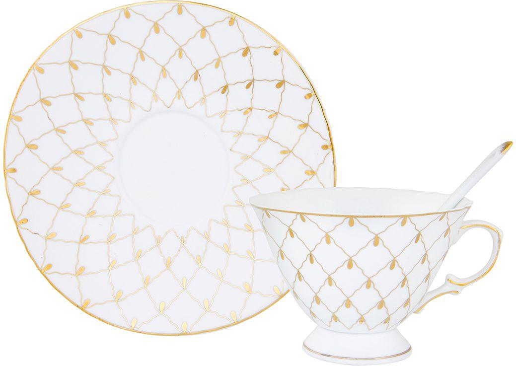 """Чайная пара Elan Gallery """"Золотая сетка"""" выполнен из керамики. Оригинальный  дизайн, несомненно, придется вам по вкусу. Чайная пара Elan Gallery """"Золотая  сетка"""" украсит ваш кухонный стол, а также станет замечательным  подарком к любому празднику. Изделие имеет подарочную  упаковку."""