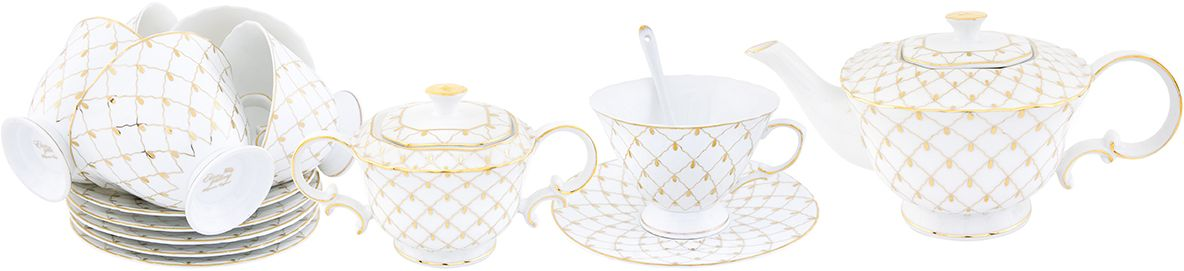 Чайный набор Elan Gallery Золотая сетка, 230 мл, 20 предметов сахарница elan gallery бархатный нектар 300 мл