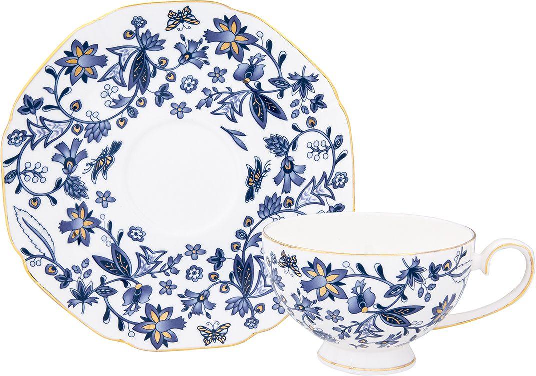 Чайная пара Elan Gallery Изысканность, 2 предмета801139Чайный набор на 1 персону украсит Ваше чаепитие. В комплекте чашка, блюдце. Изделие имеет подарочную упаковку, поэтому станет желанным подарком для Ваших близких!