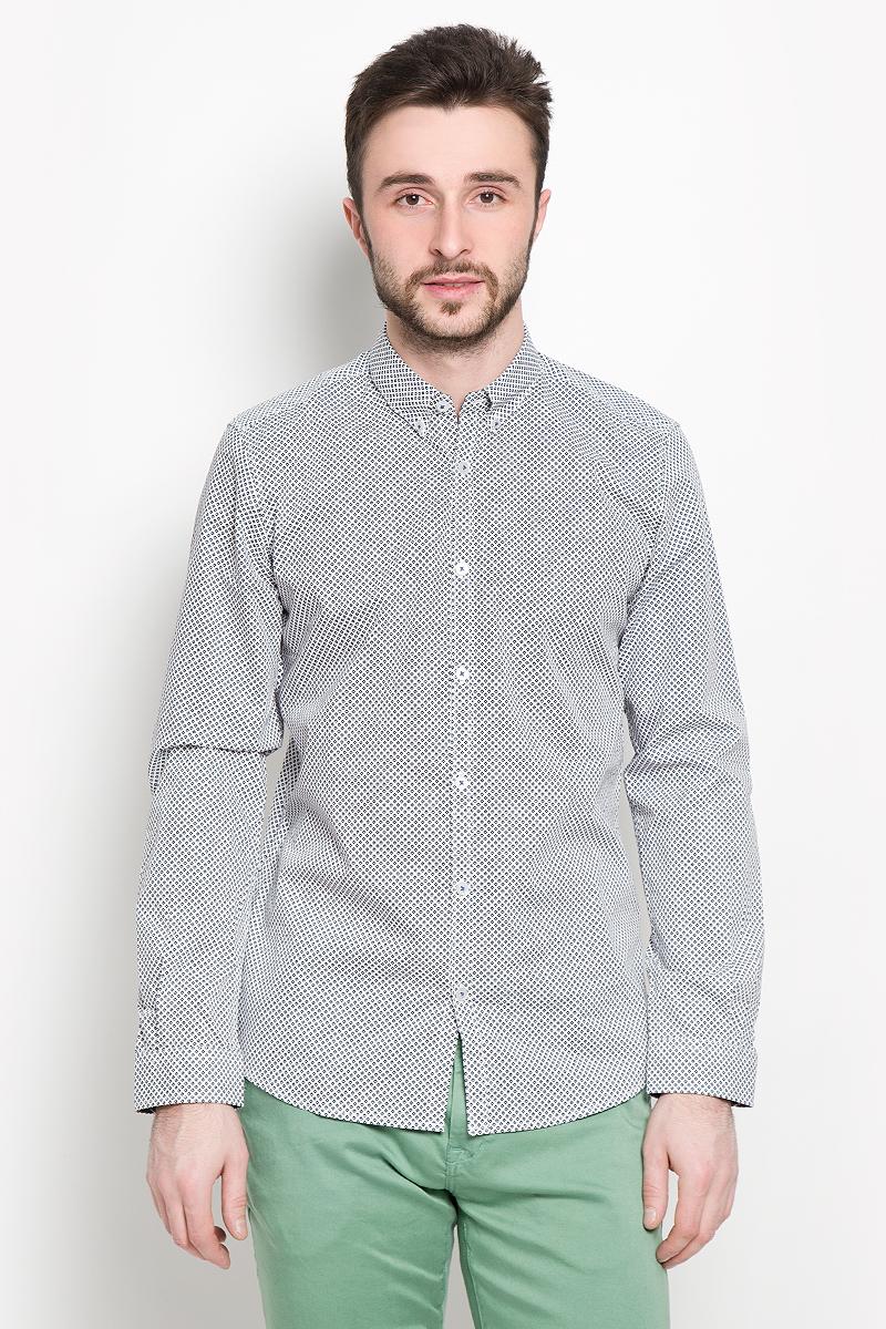 Рубашка мужская Tom Tailor, цвет: белый. 2032647.01.10_2000. Размер M (48) рубашка мужская tom tailor цвет вишневый голубой белый 2032054 00 10 1000 размер m 48