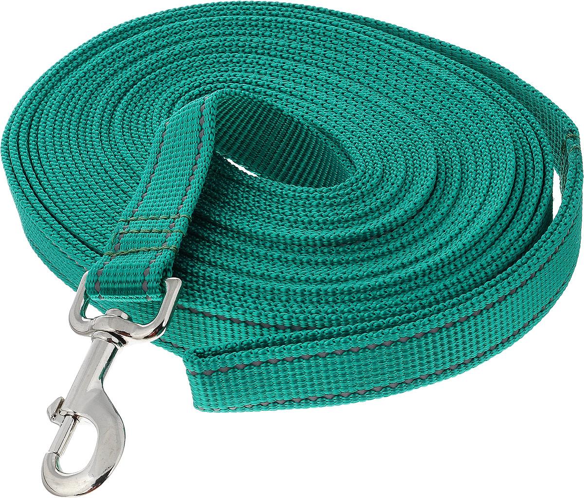 Поводок для собак Аркон, цвет: зеленый, ширина 2,5 см, длина 10 м поводок капроновый для собак аркон цвет синий ширина 2 см длина 1 м