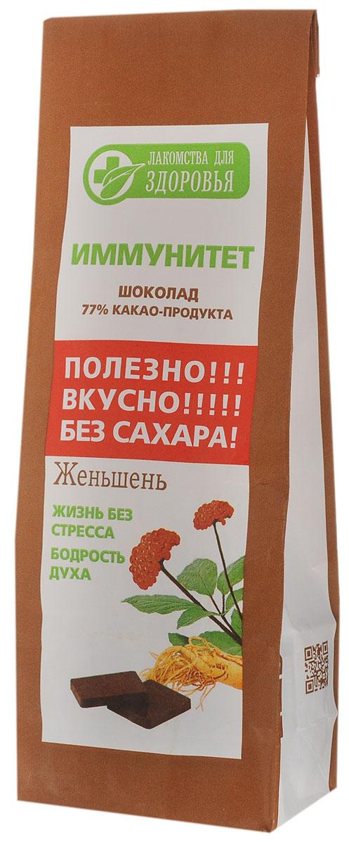 Лакомства для здоровья Шоколад горький с женьшенем, 100 г лакомства для здоровья шоколад горький с кунжутом 100 г