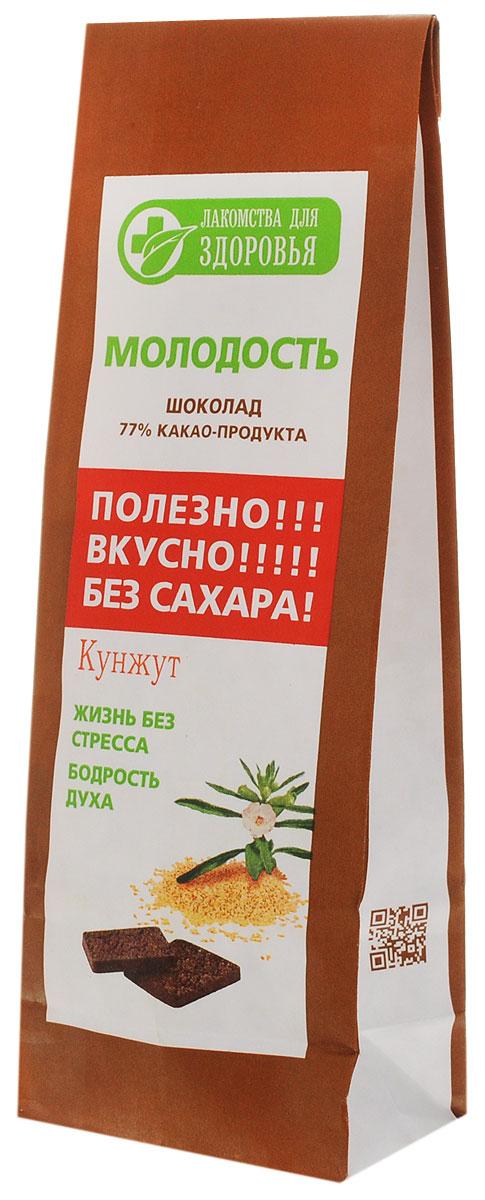 Лакомства для здоровья Шоколад горький с кунжутом, 100 г лакомства для здоровья шоколад горький с зеленым чаем 60г