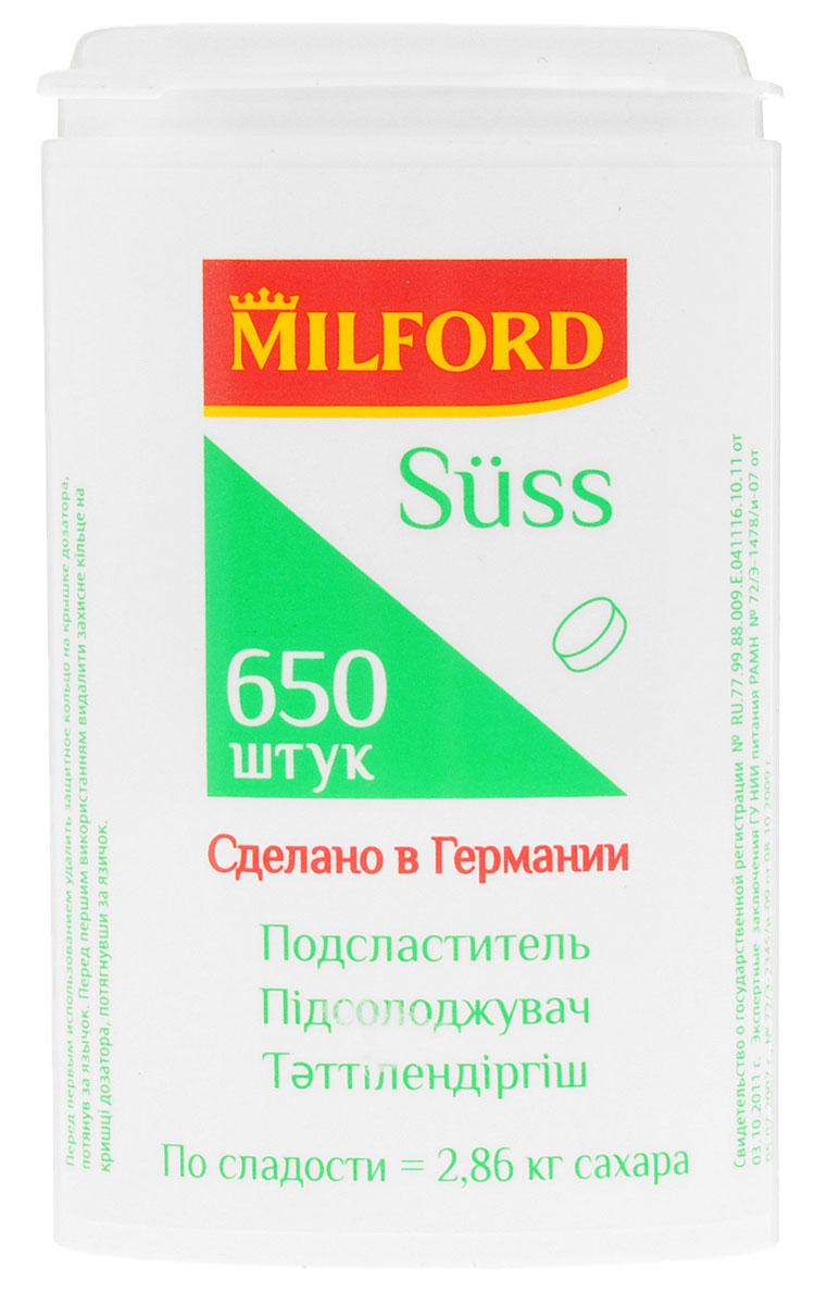 Milford Suss подсластитель, 650 штнаа101, наа102Сегодня подсластители Milford Suss - это лидеры рынка сахарозаменителей.Продукт производится в Германии при постоянном контроле качества. Все производственные процессы соответствуют предписаниям европейского законодательства и отвечают стандартам в области продуктов питания.Milford Suss - продукт с приятным вкусом, максимально приближенным ко вкусу сахара. Концентрация и сочетание подсластителей в таблетках подобрано таким образом, чтобы одна таблетка была такой же сладкой, как один кусочек сахара-рафинада или одна ложка сахарного песка.Уважаемые клиенты! Обращаем ваше внимание, что полный перечень состава продукта представлен на дополнительном изображении.