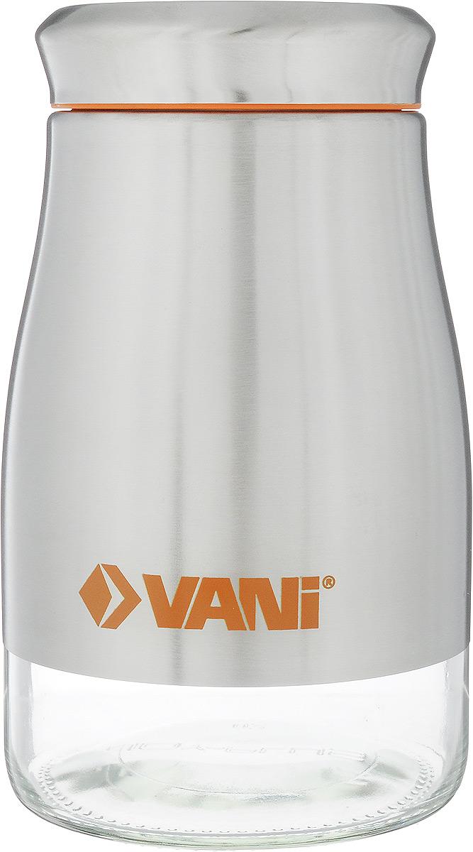 """Банка для хранения сыпучих продуктов """"VANI"""" станет незаменимым аксессуаром на любой кухне. Она предназначена для компактного хранения сыпучих продуктов, что позволяет экономить место на полке. Ее корпус изготовлен из экологически чистого стекла и высококачественной нержавеющий стали, что обеспечивает длительный срок эксплуатации изделия. Кроме того, прозрачные стенки данной модели позволяют вам контролировать остаток содержимого в банке. Для наилучшей сохранности продуктов крышка освещена пластиковым уплотнителем.Объем емкости: 1,25 л.Размер: 19 х 11 х 11 см."""