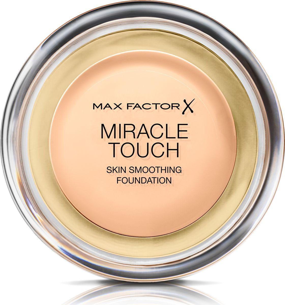 Max Factor Тональная Основа Miracle Touch Тон 40 creamy ivory 11,5 гр81055Уникальная универсальная тональная основа MaxFactorMiracleTouch обладает кремообразной формулой, благодаря которой превосходно подготовить кожу для макияжа очень легко. Всего один слой без необходимости нанесения консилера или пудры. Легкая твердая тональная основа тает в руках и гладко наносится на кожу, создавая идеальное, безупречно блестящее и равномерное покрытие, не слишком прозрачное и не слишком плотное. В результате кожа выглядит свежей, необычайно ровной и приобретает сияние. Чтобы создать безупречное покрытие, можно нанести всего один легкий слой тональной основы или же сделать покрытие более плотным благодаря специальной формуле. Тональная основа подходит для всех типов кожи, включая чувствительную кожу, и не вызывает угревой сыпи, так как не закупоривает поры. Спонж в комплекте для простого и аккуратного нанесения где угодно.Идеальное покрытие в один слой- консилер и пудра не нужны. Умеренное или плотное покрытие благодаря специальной формуле. Не вызывает угревую сыпь и не закупоривает поры. Дерматологически протестировано, подходит для чувствительной кожи.Удобная компактная форма, которую легко держать в руках, со спонжем для быстрого и простого нанесения. Идеальный оттенок должен соответствовать тону кожи на линии подбородка. Для получения наиболее профессионального результата с помощью спонжа, входящего в комплект, нанеси тональную основу MiracleTouchLiquidIllusion и распредели ее от центра лица к краям. Чтобы скрыть темные круги и недостатки кожи, наноси основу краем спонжа. Всегда наноси продукт при ярком дневном освещении.