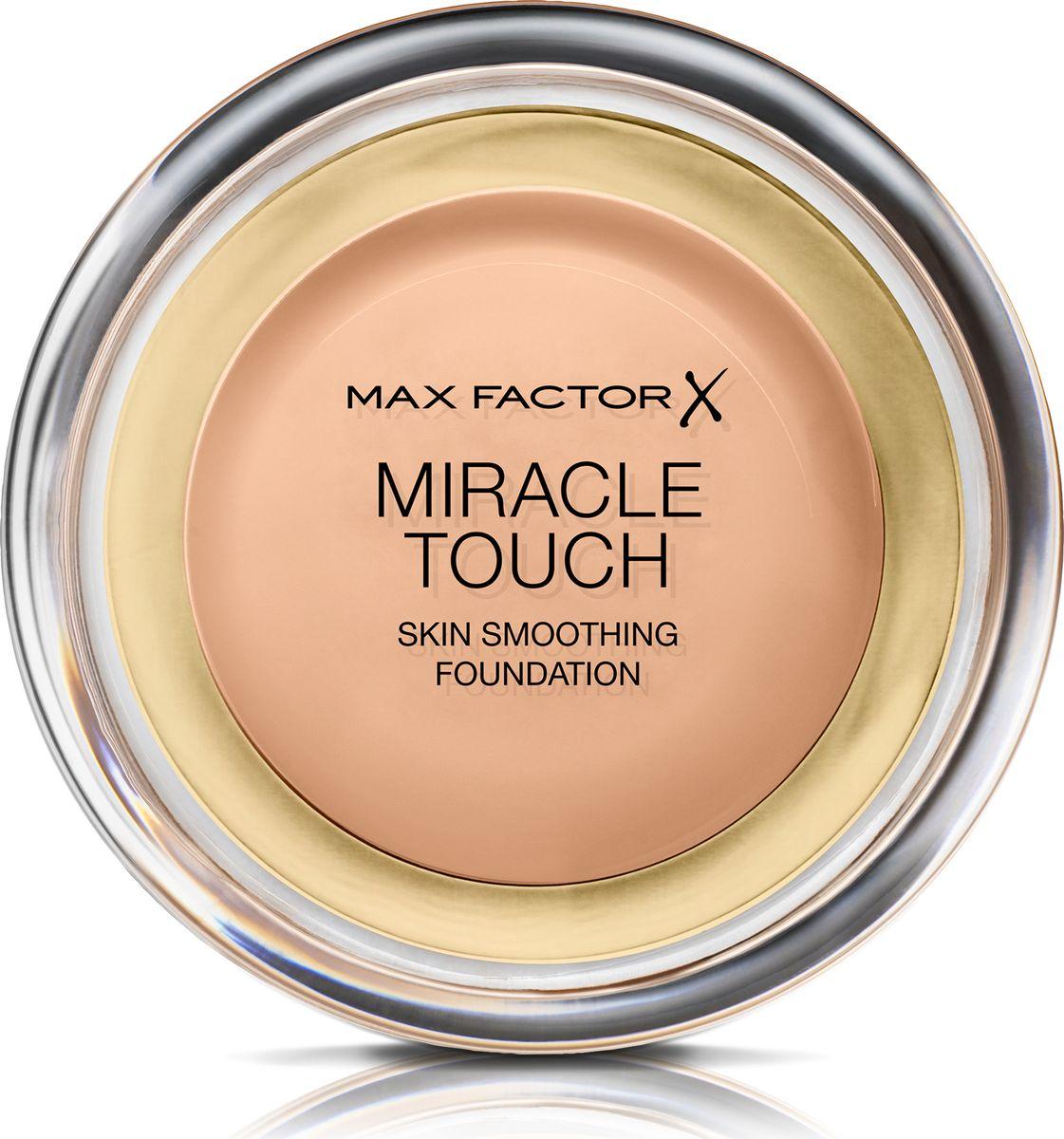 Max Factor Тональная Основа Miracle Touch Тон 45 warm almond 11,5 гр81056Уникальная универсальная тональная основа MaxFactorMiracleTouch обладает кремообразной формулой, благодаря которой превосходно подготовить кожу для макияжа очень легко. Всего один слой без необходимости нанесения консилера или пудры. Легкая твердая тональная основа тает в руках и гладко наносится на кожу, создавая идеальное, безупречно блестящее и равномерное покрытие, не слишком прозрачное и не слишком плотное. В результате кожа выглядит свежей, необычайно ровной и приобретает сияние. Чтобы создать безупречное покрытие, можно нанести всего один легкий слой тональной основы или же сделать покрытие более плотным благодаря специальной формуле. Тональная основа подходит для всех типов кожи, включая чувствительную кожу, и не вызывает угревой сыпи, так как не закупоривает поры. Спонж в комплекте для простого и аккуратного нанесения где угодно.Идеальное покрытие в один слой- консилер и пудра не нужны. Умеренное или плотное покрытие благодаря специальной формуле. Не вызывает угревую сыпь и не закупоривает поры. Дерматологически протестировано, подходит для чувствительной кожи.Удобная компактная форма, которую легко держать в руках, со спонжем для быстрого и простого нанесения. Идеальный оттенок должен соответствовать тону кожи на линии подбородка. Для получения наиболее профессионального результата с помощью спонжа, входящего в комплект, нанеси тональную основу MiracleTouchLiquidIllusion и распредели ее от центра лица к краям. Чтобы скрыть темные круги и недостатки кожи, наноси основу краем спонжа. Всегда наноси продукт при ярком дневном освещении.