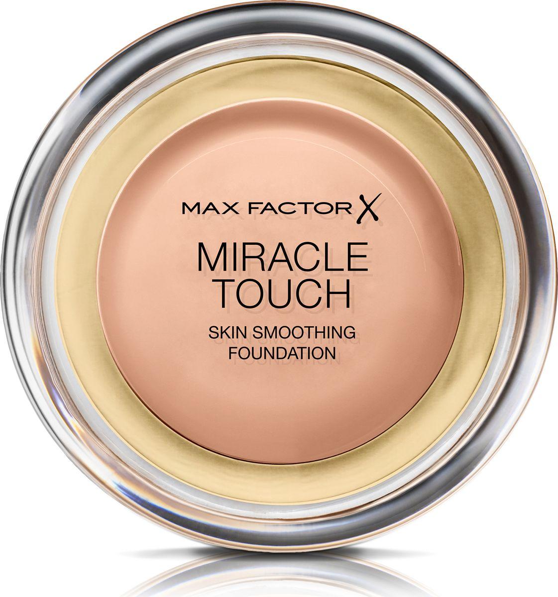 Max Factor Тональная Основа Miracle Touch Тон 55 blushing beige 11,5 гр81057Уникальная универсальная тональная основа MaxFactorMiracleTouch обладает кремообразной формулой, благодаря которой превосходно подготовить кожу для макияжа очень легко. Всего один слой без необходимости нанесения консилера или пудры. Легкая твердая тональная основа тает в руках и гладко наносится на кожу, создавая идеальное, безупречно блестящее и равномерное покрытие, не слишком прозрачное и не слишком плотное. В результате кожа выглядит свежей, необычайно ровной и приобретает сияние. Чтобы создать безупречное покрытие, можно нанести всего один легкий слой тональной основы или же сделать покрытие более плотным благодаря специальной формуле. Тональная основа подходит для всех типов кожи, включая чувствительную кожу, и не вызывает угревой сыпи, так как не закупоривает поры. Спонж в комплекте для простого и аккуратного нанесения где угодно.Идеальное покрытие в один слой- консилер и пудра не нужны. Умеренное или плотное покрытие благодаря специальной формуле. Не вызывает угревую сыпь и не закупоривает поры. Дерматологически протестировано, подходит для чувствительной кожи.Удобная компактная форма, которую легко держать в руках, со спонжем для быстрого и простого нанесения. Идеальный оттенок должен соответствовать тону кожи на линии подбородка. Для получения наиболее профессионального результата с помощью спонжа, входящего в комплект, нанеси тональную основу MiracleTouchLiquidIllusion и распредели ее от центра лица к краям. Чтобы скрыть темные круги и недостатки кожи, наноси основу краем спонжа. Всегда наноси продукт при ярком дневном освещении.