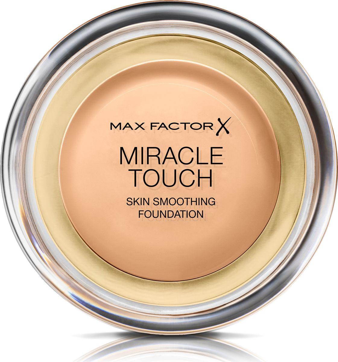 Max Factor Тональная Основа Miracle Touch Тон 75 golden 11,5 гр81063Уникальная универсальная тональная основа MaxFactorMiracleTouch обладает кремообразной формулой, благодаря которой превосходно подготовить кожу для макияжа очень легко. Всего один слой без необходимости нанесения консилера или пудры. Легкая твердая тональная основа тает в руках и гладко наносится на кожу, создавая идеальное, безупречно блестящее и равномерное покрытие, не слишком прозрачное и не слишком плотное. В результате кожа выглядит свежей, необычайно ровной и приобретает сияние. Чтобы создать безупречное покрытие, можно нанести всего один легкий слой тональной основы или же сделать покрытие более плотным благодаря специальной формуле. Тональная основа подходит для всех типов кожи, включая чувствительную кожу, и не вызывает угревой сыпи, так как не закупоривает поры. Спонж в комплекте для простого и аккуратного нанесения где угодно. Идеальное покрытие в один слой- консилер и пудра не нужны. Умеренное или плотное покрытие благодаря специальной формуле. Не вызывает угревую сыпь и не закупоривает поры. Дерматологически протестировано, подходит для чувствительной кожи.Удобная компактная форма, которую легко держать в руках, со спонжем для быстрого и простого нанесения. Идеальный оттенок должен соответствовать тону кожи на линии подбородка. Для получения наиболее профессионального результата с помощью спонжа, входящего в комплект, нанеси тональную основу MiracleTouchLiquidIllusion и распредели ее от центра лица к краям. Чтобы скрыть темные круги и недостатки кожи, наноси основу краем спонжа. Всегда наноси продукт при ярком дневном освещении.