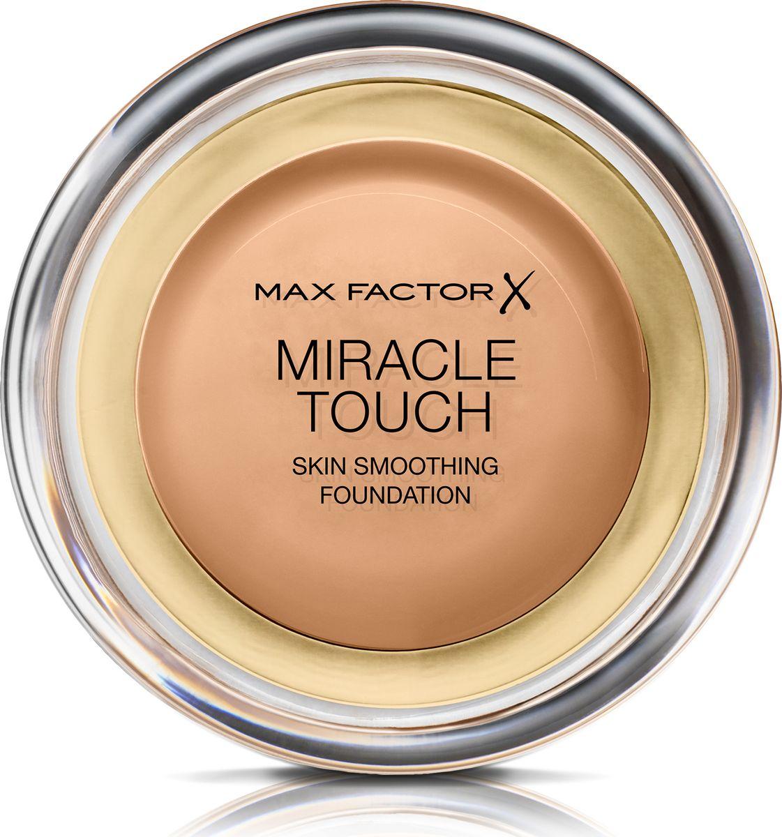 Max Factor Тональная Основа Miracle Touch Тон 80 bronze 11,5 гр29199601056Уникальная универсальная тональная основа MaxFactorMiracleTouch обладает кремообразной формулой, благодаря которой превосходно подготовить кожу для макияжа очень легко. Всего один слой без необходимости нанесения консилера или пудры. Легкая твердая тональная основа тает в руках и гладко наносится на кожу, создавая идеальное, безупречно блестящее и равномерное покрытие, не слишком прозрачное и не слишком плотное. В результате кожа выглядит свежей, необычайно ровной и приобретает сияние. Чтобы создать безупречное покрытие, можно нанести всего один легкий слой тональной основы или же сделать покрытие более плотным благодаря специальной формуле. Тональная основа подходит для всех типов кожи, включая чувствительную кожу, и не вызывает угревой сыпи, так как не закупоривает поры. Спонж в комплекте для простого и аккуратного нанесения где угодно. Идеальное покрытие в один слой- консилер и пудра не нужны. Умеренное или плотное покрытие благодаря специальной формуле. Не вызывает угревую сыпь и не закупоривает поры. Дерматологически протестировано, подходит для чувствительной кожи.Удобная компактная форма, которую легко держать в руках, со спонжем для быстрого и простого нанесения. Идеальный оттенок должен соответствовать тону кожи на линии подбородка. Для получения наиболее профессионального результата с помощью спонжа, входящего в комплект, нанеси тональную основу MiracleTouchLiquidIllusion и распредели ее от центра лица к краям. Чтобы скрыть темные круги и недостатки кожи, наноси основу краем спонжа. Всегда наноси продукт при ярком дневном освещении.