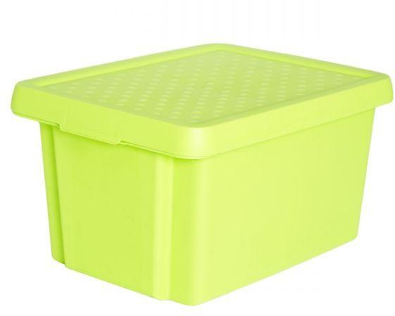 """Коробка для хранения Curver """"Essentials"""", с крышкой, цвет: салатовый, 16 л"""