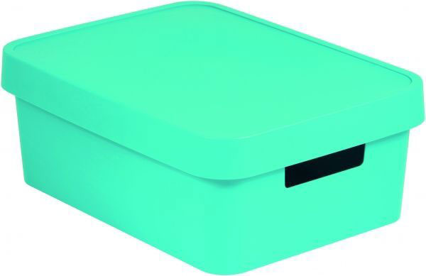 Коробка для хранения Curver Infinity, с крышкой, цвет: бирюзовый, 11 л04752-X34-00Коробка для хранения Curver Infinity изготовлена из высококачественного пластика. Идеально подходит для хранения мелочей для ванной и различных бытовых вещей. Изделие оснащено крышкой и удобными ручками по бокам.