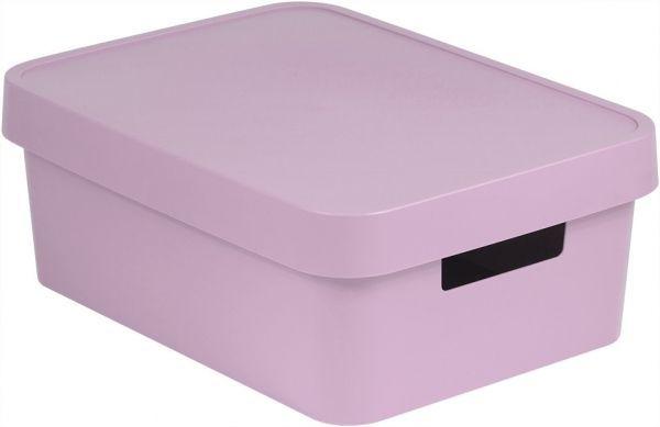 Коробка для хранения Curver Infinity, с крышкой, цвет: сиренево-розовый, 11 л04752-X51-00Коробка для хранения Curver Infinity изготовлена из высококачественного пластика.Идеально подходит для хранения мелочей для ванной и различных бытовых вещей. Изделие оснащено крышкой и удобными ручками по бокам.