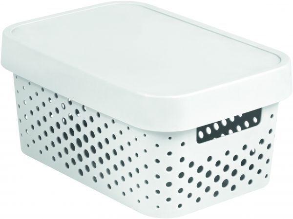 Коробка для хранения Curver Infinity, с крышкой, цвет: белый, 4,5 л04760-N23-00Коробка для хранения мелочей Curver Infinity выполнена из высококачественного пластика. Специальные отверстия на стенках создают идеальные условия для проветривания. Изделие оснащено крышкой и двумя эргономичными ручками для переноски. Коробка Curver очень вместительна и поможет вам хранить все необходимые мелочи в одном месте.Объем коробки: 4,5 л.Размер коробки (с учетом крышки): 26 х 17,5 х 12,5 см.