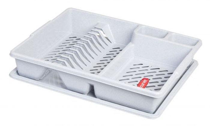 Сушилка для посуды Curver, с поддоном, цвет: светло-серый, 47 х 38 х 8,5 см13401-119Сушилка для посуды Curver изготовлена из высококачественного прочного пластика. Изделие оснащено пластиковым поддоном для стекания воды и содержит секции для вертикальной сушки посуды и столовых приборов. Такая сушилка не займет много места на кухне и поможет аккуратно хранить вашу посуду.Размер сушилки: 47 х 38 х 8,5 см.Размер поддона: 47 х 38 х 1,8 см.