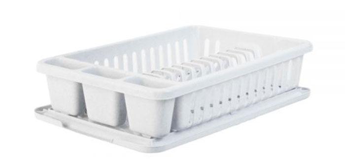 Сушилка для посуды Curver Мини, с поддоном, цвет: светло-серый, 42 х 26,5 х 8,2 см13402-119Сушилка для посуды Curver Мини изготовленаиз высококачественного прочного пластика.Изделие оснащено пластиковым поддоном длястекания воды и содержит секции длявертикальной сушки посуды и столовыхприборов.Такая сушилка не займет много места на кухне ипоможет аккуратно хранить вашу посуду.Размер сушилки: 42 см х 26,5 см х 8,2 см. Размер поддона: 42,5 см х 27,5 см х 1,2 см.