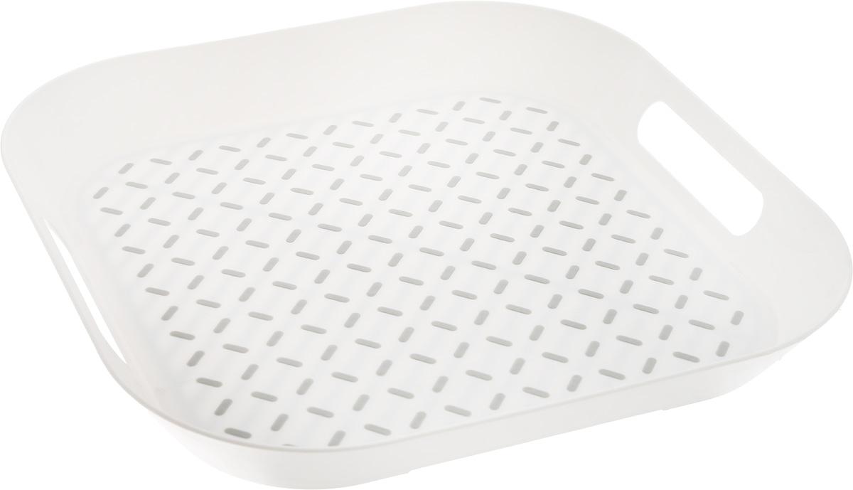 Поднос Zeller, цвет: белый, серый, 34 х 34 х 4,3 см26678Оригинальный поднос Zeller, изготовленный из прочного пищевого пластика, станет незаменимым предметом для сервировки стола. Изделие снабжено специальными прорезиненными вставками, которые предотвращают скольжение посуды. Основание подноса также имеет резиновые вставки. Для удобства переноски предусмотрены удобные ручки и высокие бортики. Такой поднос станет полезным и практичным приобретением для вашей кухни.