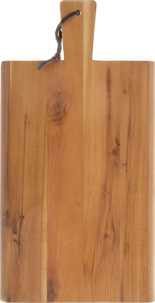 Доска разделочная Kesper, с ручкой, 35 х 18 х 1,5 см2019-1Разделочная доска Kesper выполнена из акации. Акация считается самым твердым деревом. Поэтому изделие являются прочным и долговечным, не боится воды и не впитывает запахи. Доска оснащена ручкой с кожаной петлей для более удобного использования.Функциональная и простая в использовании, разделочная доска Kesper прекрасно впишется в интерьер любой кухни и прослужит вам долгие годы. Не рекомендуется мыть в посудомоечной машине.Размер доски: 35 х 18 см. Толщина доски: 1,5 см.