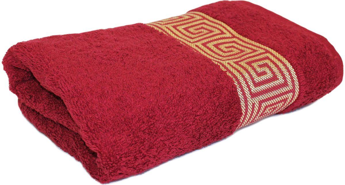 Полотенце Proffi Home Классик, цвет: бордовый, 50 x 100 см proffi home футляр для очков fabia monti цвет бордовый