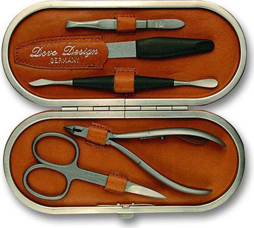 Маникюрный набор Dovo, 5 предметов. Футляр: натуральная кожа (вол), цвет коричневый