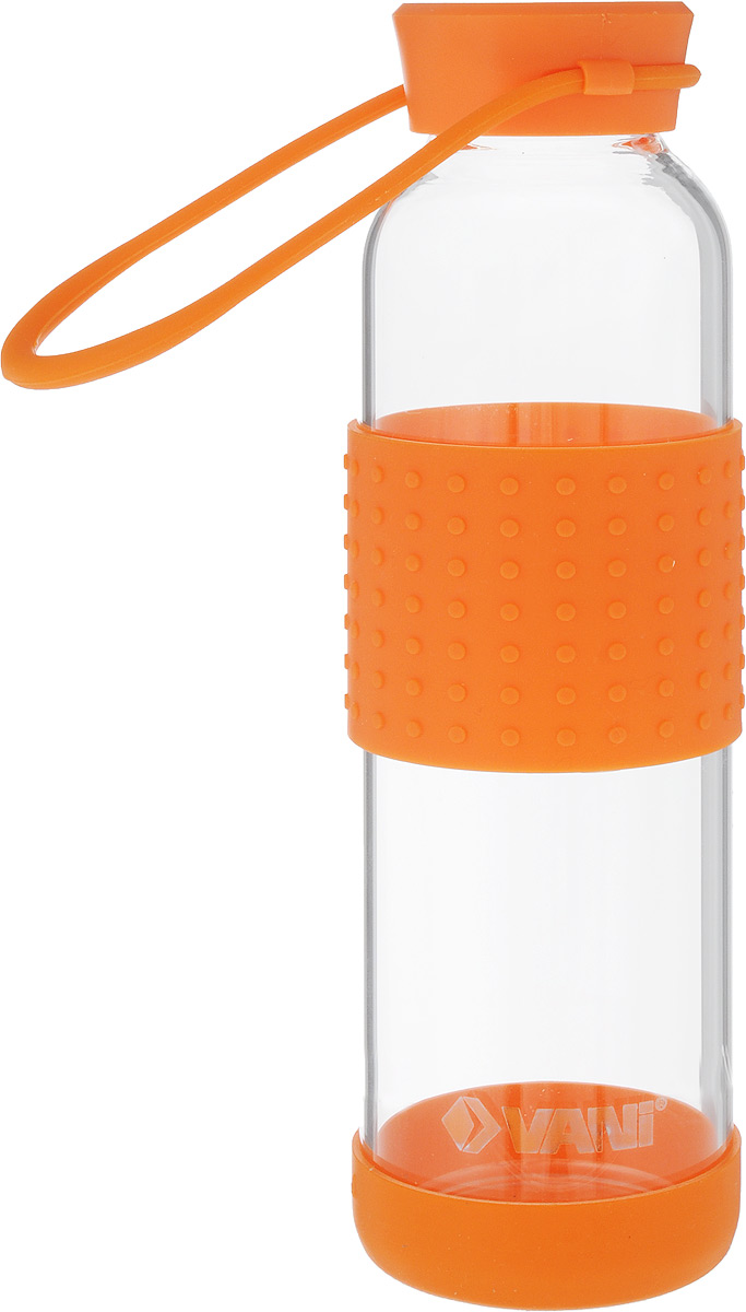 Бутылка для воды VANI, цвет: прозрачный, оранжевый, 500 млV30Многоразовая бутылка для воды VANI пригодится в спортзале, на прогулке, дома и на даче. Бутылка выполнена из высококачественного упрочненного стекла, она способна выдержать температуру от -20 до 100°С. Имеет силиконовую ручку для переноски.Крышка изготовлена из пищевого пластика, нержавеющей стали и силиконового кольца. Герметично закрывается.Силиконовые вставки на стекле предохраняют от ожогов и скольжения в руках. Диаметр горлышка: 4 см. Высота бутылки (с учетом крышки): 23 см. Диаметр дна: 6,5 см.