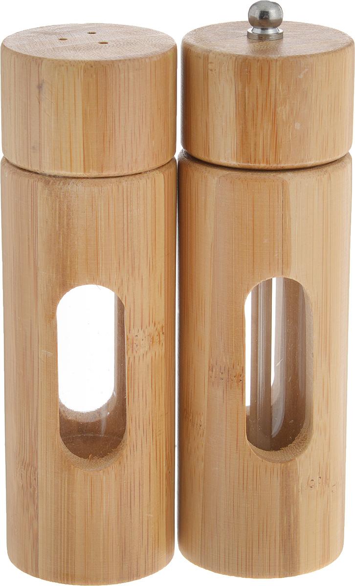 Набор для специй Kesper, 2 предмета. 1364-51364-5Набор Kesper состоит из двух емкостей для специй, изготовленных из высококачественного бамбука с акриловыми вставками, которые позволяют видеть количество содержимого в емкости. Одно изделие оснащено желобом для помола перца, а другое изделие оснащено откручивающейся крышкой с отверстиями.Стильная форма этих емкостей привлекает внимание и будет уместна на любой кухне.Размер солонки: 5 х 5 х 15 см.Размер перечницы: 5 х 5 х 16 см.