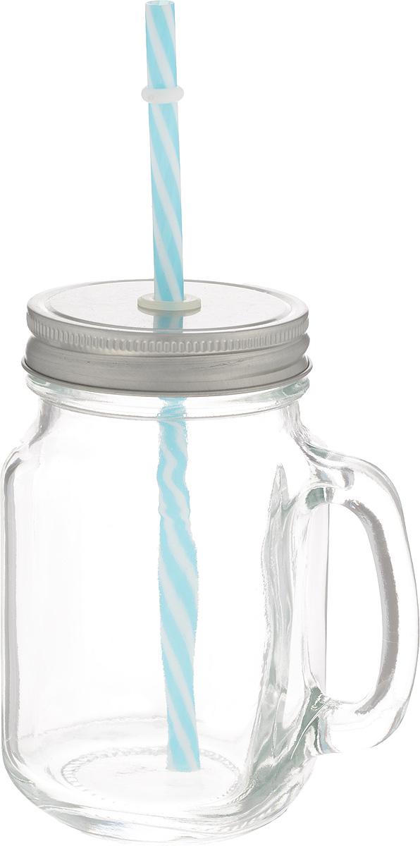Емкость для напитков Zeller, с трубочкой, 470 мл19726Емкость для напитков Zeller выполнена из высококачественного стекла. Изделие снабжено металлической крышкой с отверстием для трубочки, а также удобной ручкой. Эта емкость станет идеальным вариантом для подачи лимонадов, ароматных свежевыжатых соков и вкусных смузи. Уважаемые клиенты! Обращаем ваше внимание на возможные изменения в цвете крышки и трубочки. Поставка осуществляется в зависимости от прихода товара на склад.