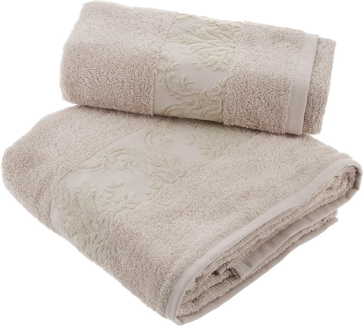 Набор махровых полотенец Hobby Home Collection Ruzanna, цвет: светло-коричневый, 2 шт набор махровых полотенец issimo home jacquelyn цвет бежевый 30 x 50 см 4 шт