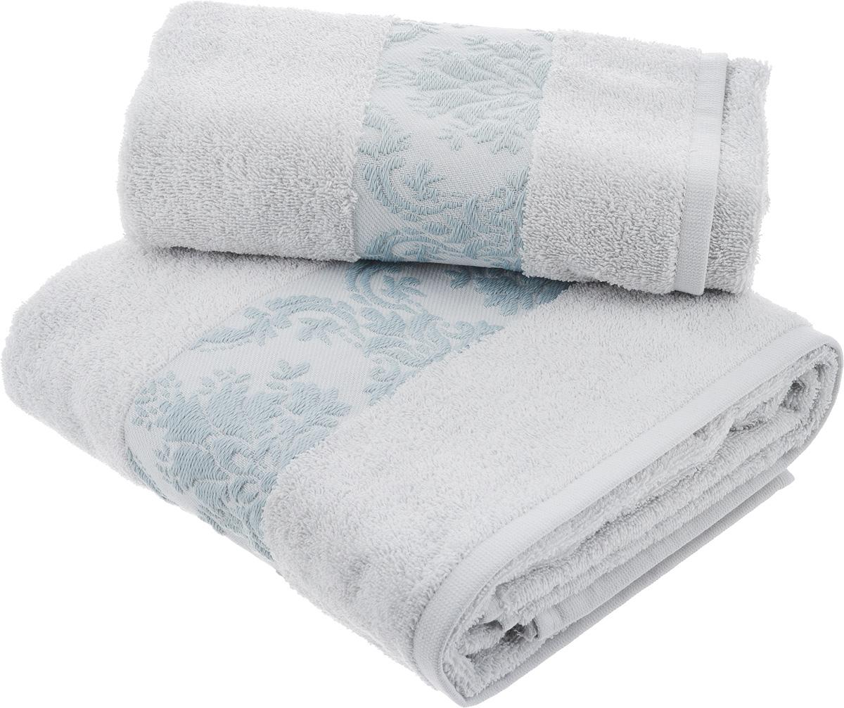 Набор махровых полотенец Hobby Home Collection Ruzanna, цвет: светло-голубой, 2 шт набор полотенец karna sandy цвет стоне 50 х 90 см 70 х 140 см 2 шт