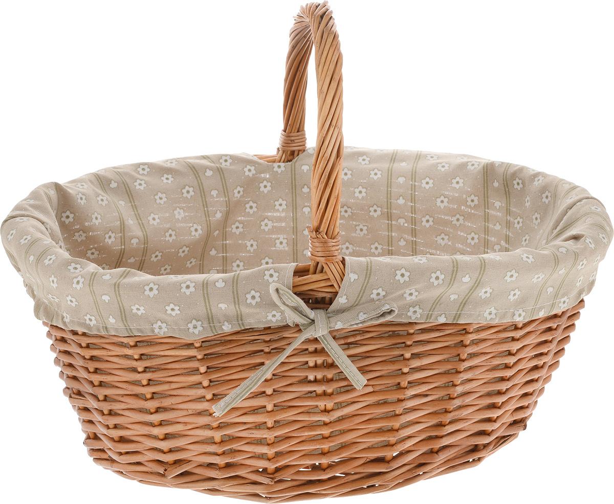 Корзинка для фруктов Kesper, 46 х 34 х 32 см1789-1Оригинальная плетеная корзинка Kesper овальной формы прекрасно подойдет для вашей кухни. Корзинка снабжена съемной текстильной подкладкой с цветочным рисунком. Она предназначена для красивой переноски, сервировки и хранения фруктов, а также хлебобулочных изделий.Красивая и оригинальная корзинка пригодится дома, на даче, на пикнике. Она порадует вас качеством, вместительностью и красивым дизайном.