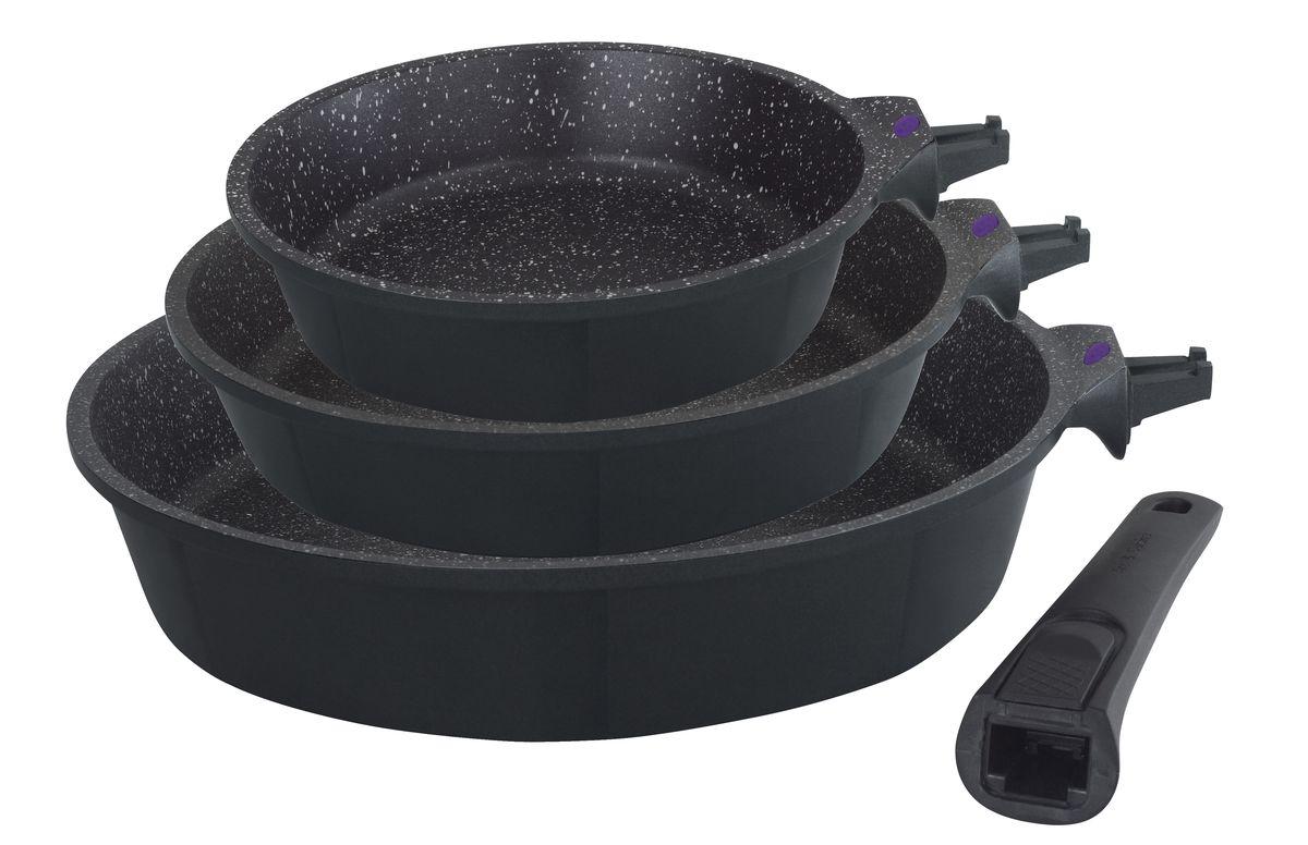 """Набор сковородок Gipfel """"Proofet"""" изготовлен только из литого алюминия. Имеет  антипригарное керамическое покрытие.    Подходит для газовых, индукционных, стеклокерамических и электрических плит.   Допускается мытье в посудомоечной машине.   Диаметр сковородок: 20, 24, 28 см."""