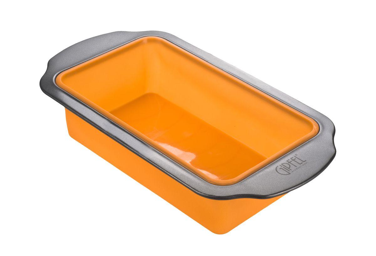 Форма для выпечки Gipfel, силиконовая, прямоугольная, цвет: оранжевый, 31,8 x 17,5 x 6,5 см2830Прямоугольная форма для выпечки Gipfel изготовлена из высококачественного силикона с вставкой из углеродистой стали. Форма равномерно и быстро прогревается, что способствует лучшему пропеканию пищи. Ее легко чистить. Готовая выпечка без труда извлекается. Форма подходит для использования в духовке. Перед каждым использованием ее необходимо смазать небольшим количеством масла. Простая в уходе и долговечная в использовании форма для выпечки Gipfel станет верным помощником в создании ваших кулинарных шедевров. Размер формы: 31,8 x 17,5 x 6,5 см.
