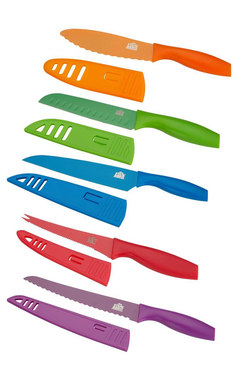 Набор ножей Stahlberg, с чехлами, 5 предметов6739-SКомпания Stahlberg использует для производства кухонных ножей высокоуглеродистую легированную нержавеющую сталь (с повышенным содержанием углерода). Ножи из высокоуглеродистой нержавеющей стали относятся к ножам более высокого класса. Эти ножи сочетают в себе все самые лучшие свойства углеродистой и нержавеющей стали. Высокое содержание углерода способствует долгому сохранению заточки, а нержавеющая сталь обеспечивает устойчивость к коррозии и пятнообразованию. Ножи из высокоуглеродистой стали имеют в составе сплава дополнительные элементы. Например, молибден, ванадий. Их наличие способствует увеличению твёрдости, времени сохранения заточки и режущей способности. Для производства кухонных ножей Stahlberg используются две разновидности высокоуглеродистой стали - X30Cr13 и X50CrMoV15. Благодаря технологиям ножи Stahlberg прекрасно держат заточку, не ржавеют, очень прочны и легки в использовании и уходе.