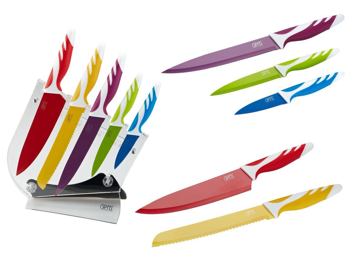 Набор ножей Gipfel Rainbow, на подставке, 6 предметов ножи для кухни лучшие
