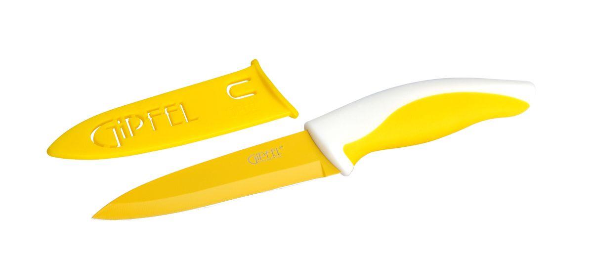 Нож универсальный Gipfel Picnic, с чехлом, цвет: желтый, длина лезвия 10 см6789Универсальный нож Gipfel Picnic изготовлен из высококачественной высокоуглеродистой нержавеющей стали. Высокое содержание углерода способствует долгому сохранению заточки, а нержавеющая сталь обеспечивает устойчивость к коррозии и пятнообразованию. Такие ножи прекрасно держат заточку, не ржавеют, очень прочны и легки в использовании и уходе. Удобная рукоятка ножа, выполненная из пластика, не позволит выскользнуть ему из руки. Нож Gipfel Picnic займет достойное место среди аксессуаров на вашей кухне. В комплекте имеется пластиковый чехол.