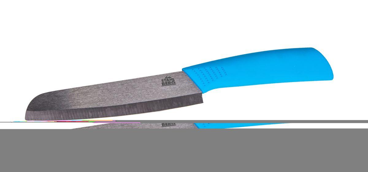 Нож керамический Stahlberg, длина лезвия 15,2 см6973-SКомпания Stahlberg использует для производства кухонных ножей высокоуглеродистую легированную нержавеющую сталь (с повышенным содержанием углерода). Ножи из высокоуглеродистой нержавеющей стали относятся к ножам более высокого класса. Эти ножи сочетают в себе все самые лучшие свойства углеродистой и нержавеющей стали. Высокое содержание углерода способствует долгому сохранению заточки, а нержавеющая сталь обеспечивает устойчивость к коррозии и пятнообразованию. Ножи из высокоуглеродистой стали имеют в составе сплава дополнительные элементы. Например, молибден, ванадий. Их наличие способствует увеличению твёрдости, времени сохранения заточки и режущей способности. Для производства кухонных ножей Stahlberg используются две разновидности высокоуглеродистой стали - X30Cr13 и X50CrMoV15. Благодаря технологиям ножи Stahlberg прекрасно держат заточку, не ржавеют, очень прочны и легки в использовании и уходе.